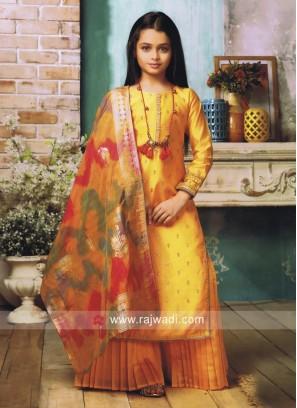 Readymade Silk Palazzo Suit with Necklace
