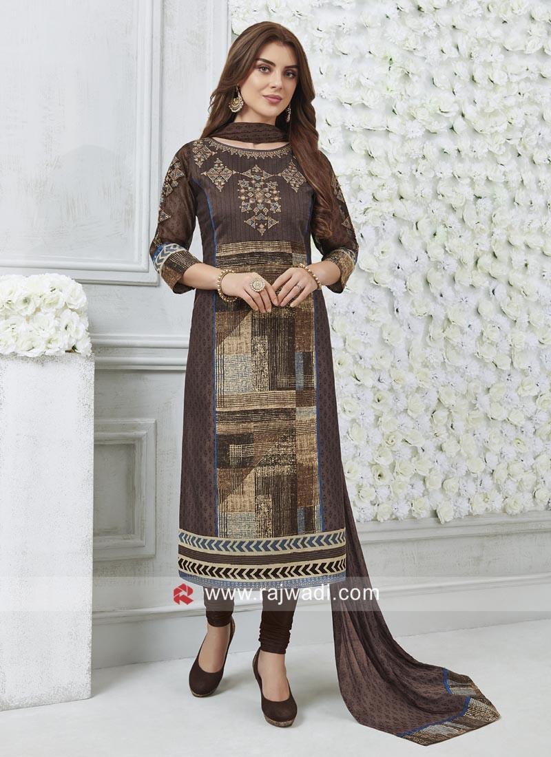 Readymade Straight Fit Zari Work Salwar Suit