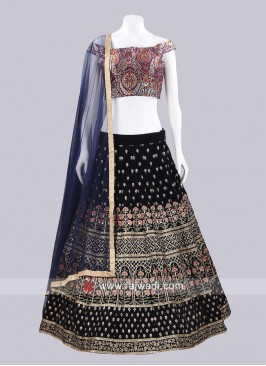 Readymade Velvet and Silk Lehenga Set