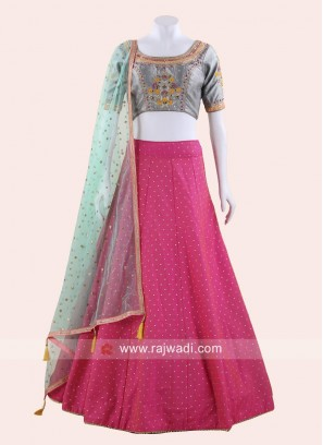 Deep Pink and Grey Wedding Lehenga Set