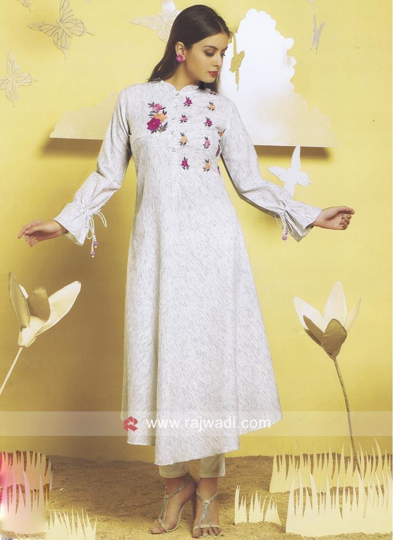 Readymade White Cotton Kurti