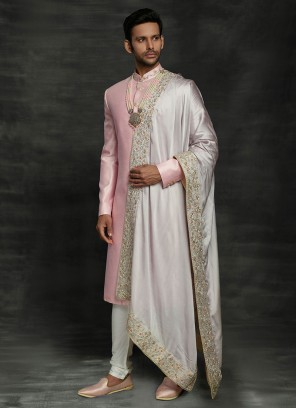 Reception Sherwani In Pink Color