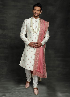 Reception Sherwani In White Color