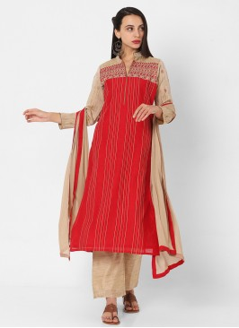 Red And Beige Color Palazzo Style Suit