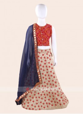 Red and Beige Kids Ghagra Choli