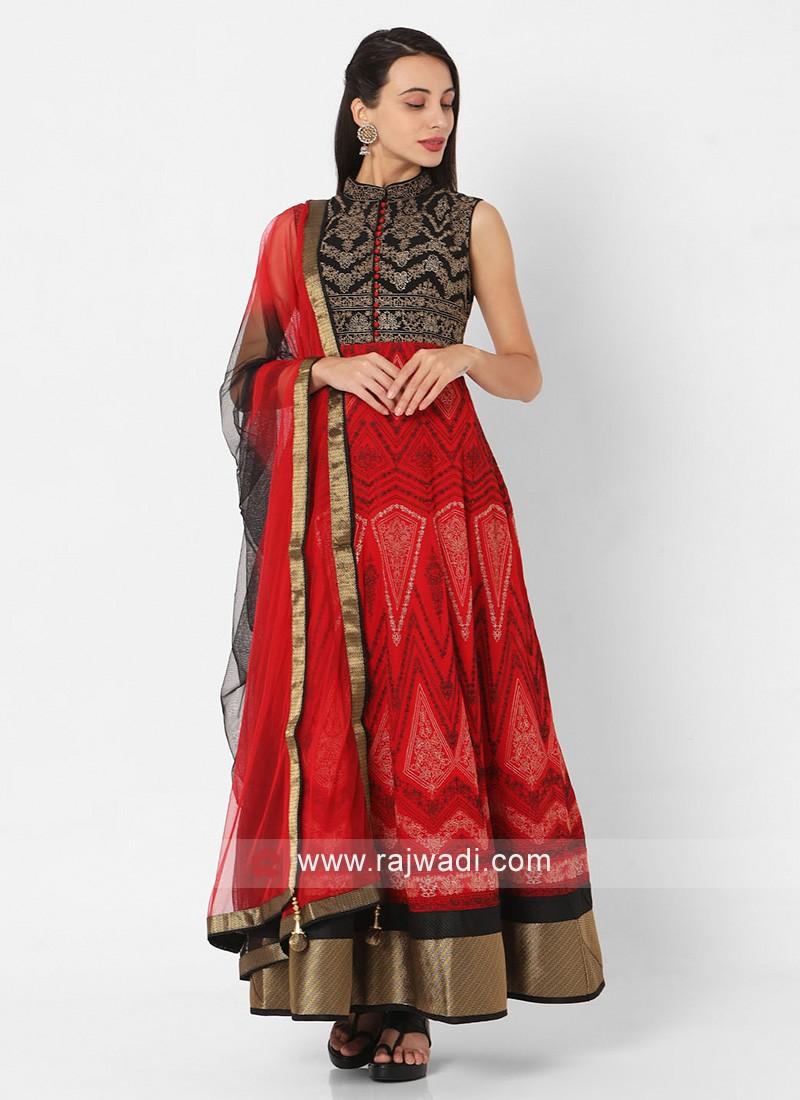 Red And Black Anarkali Suit