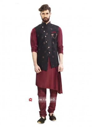 Maroon and Black Color Nehru Jacket