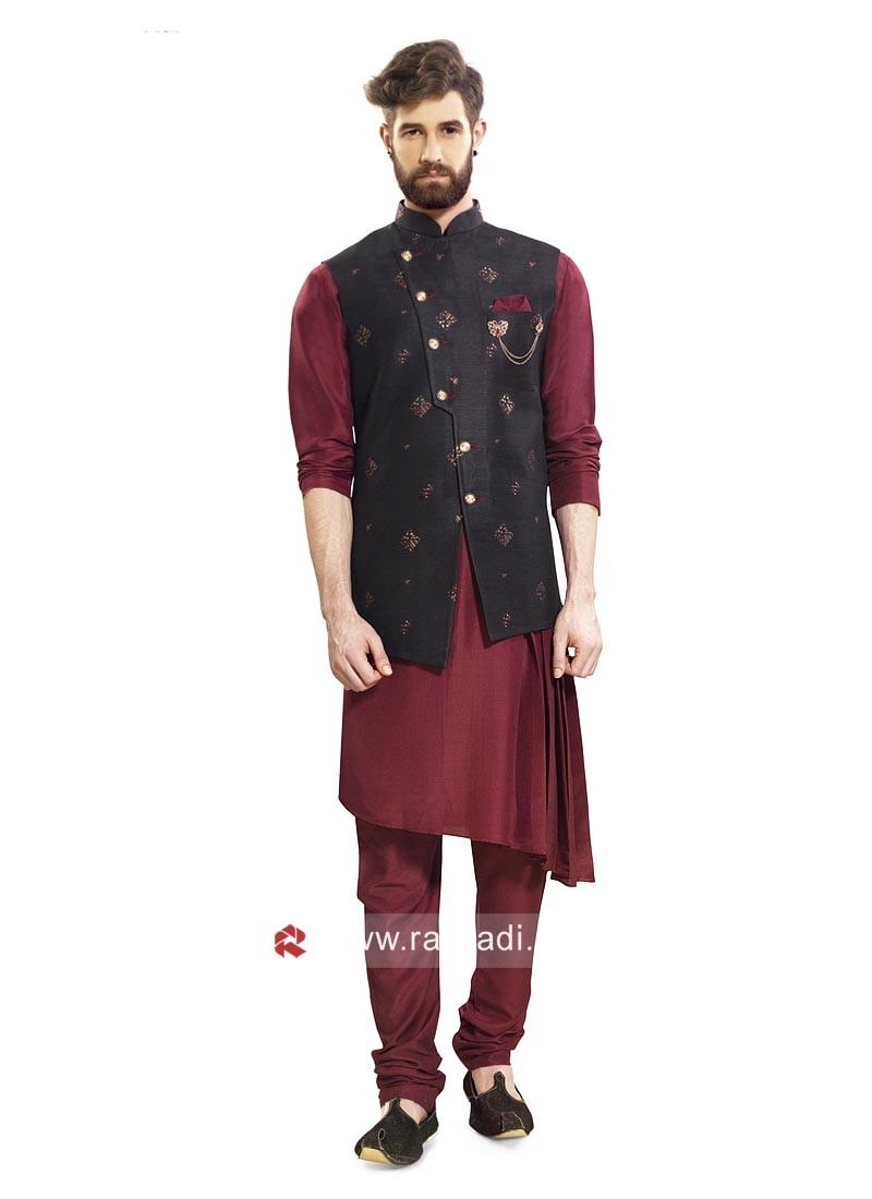 Maroon and Black Color Nehru Jacket