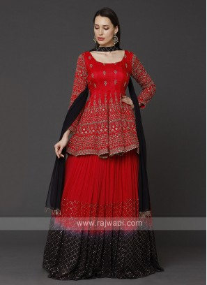 Red And Black Gharara Suit