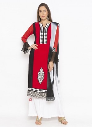 red and black  palazzo suit