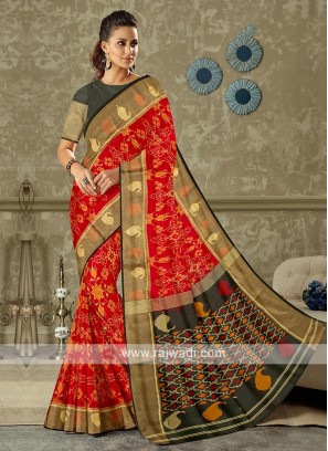 red and black pure silk saree