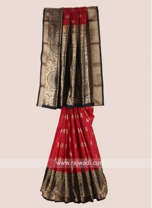 Red and Black Pure Silk Woven Saree