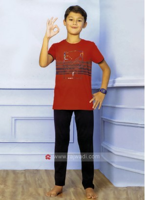 Red And Black Sleepwear For Boys