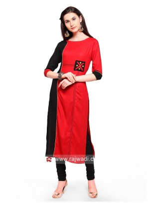 Red and Black Straight Fit Kurti