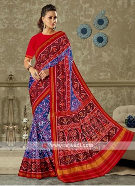 Red and blue color pure silk saree
