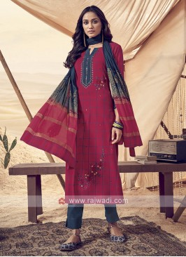 Shagufta Red And Blue Cotton Pant Salwar Suit