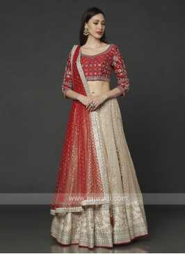 Red And Cream Choli Suit