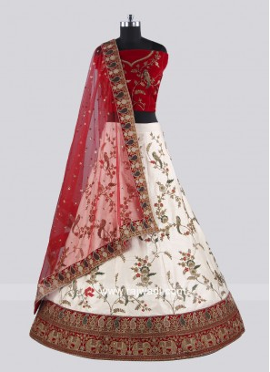 Red And Cream Lehenga Set