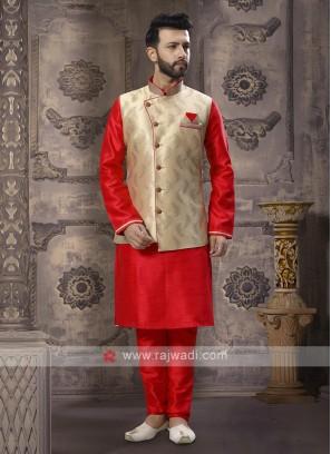 Red And Cream Nehru Jacket