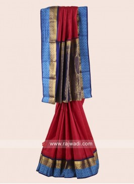 Red and Dark Blue Checks Weaved Saree