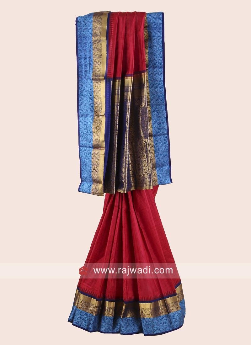 Red and Dark Blue Checks Weaved Saree