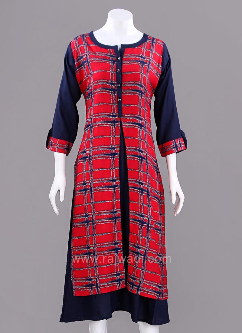 Red and Dark Navy Blue Twin Layered Kurti