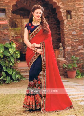 Red and Dark Navy Saree with Blouse