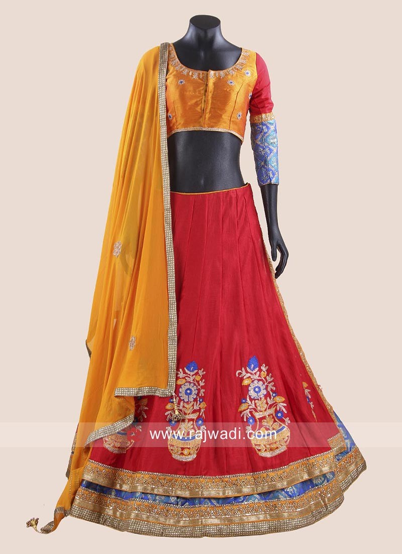 Red and Dark Orange Chaniya Choli