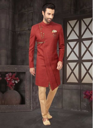 Red And Golden Indo-Western For Groom