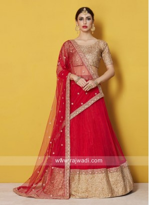 Red and Golden Lehenga Choli
