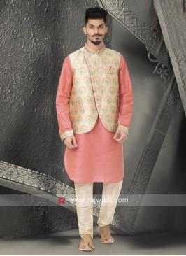 Pink and Cream Nehru Jacket