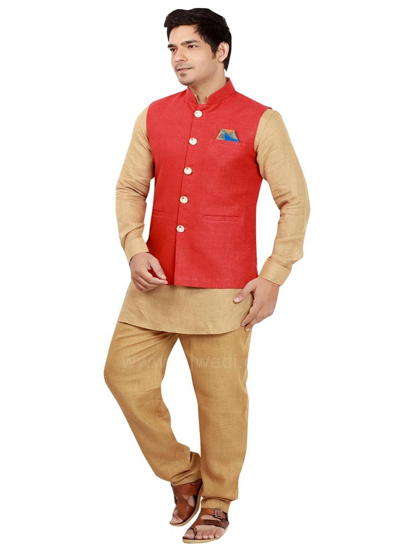 Red and Golden Nehru Jacket