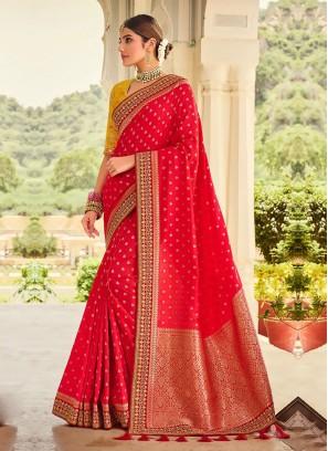 Red And Golden Yellow Banarasi Saree