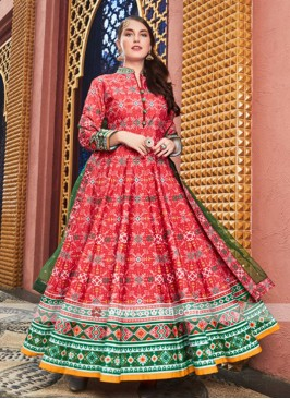 Red and Green anarkali Suit With Dupatta