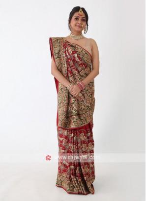 Red And Green Gajji Silk Wedding Saree