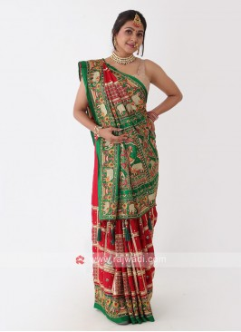 Red And Green Gharchola Saree
