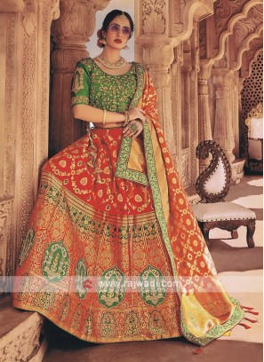 Red and dark green lehenga choli