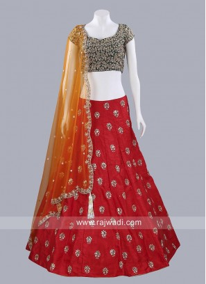 Red and Green Lehenga Set