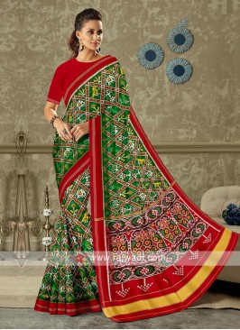 Green And Red Patola Print Saree