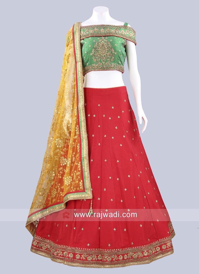 Red and Green Raw Silk Lehenga Set
