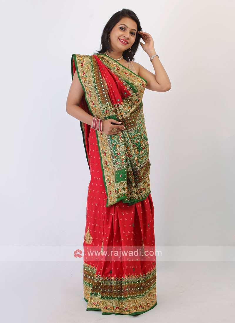 Red And Green Silk Saree