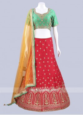 Red and Green Traditional Lehenga Set