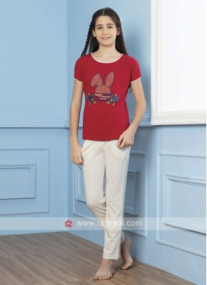 Red And Grey Night Suit For Girls