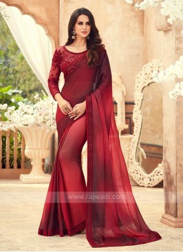 Red And Maroon Shaded Chiffon Saree