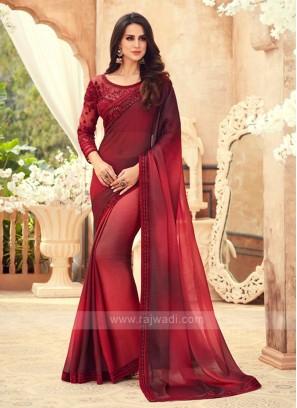 Red And Maroon Shaded Chiffon Saree
