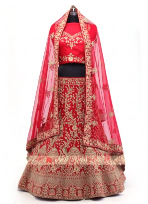 Red And Maroon Silk Lehenga Choli