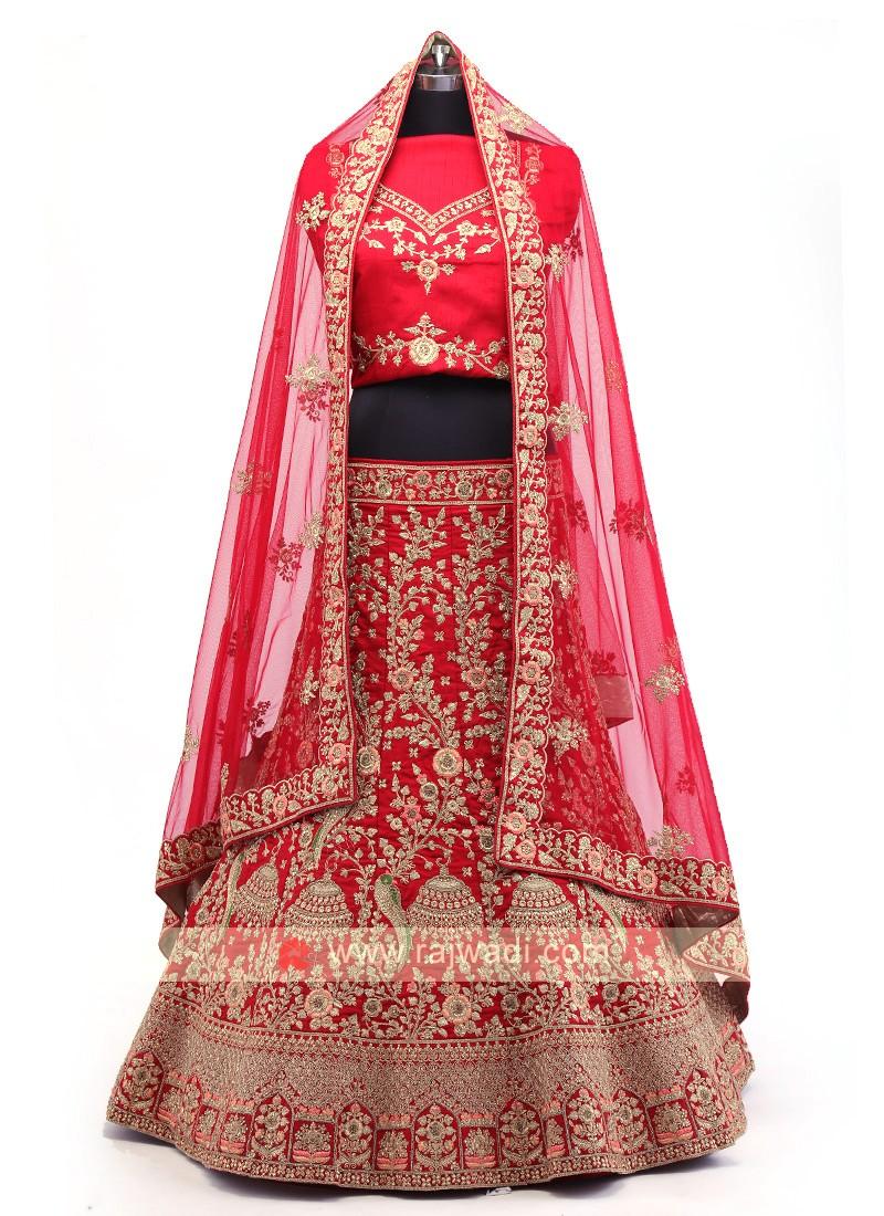 Red And Maroon Silk Lehenga Choli