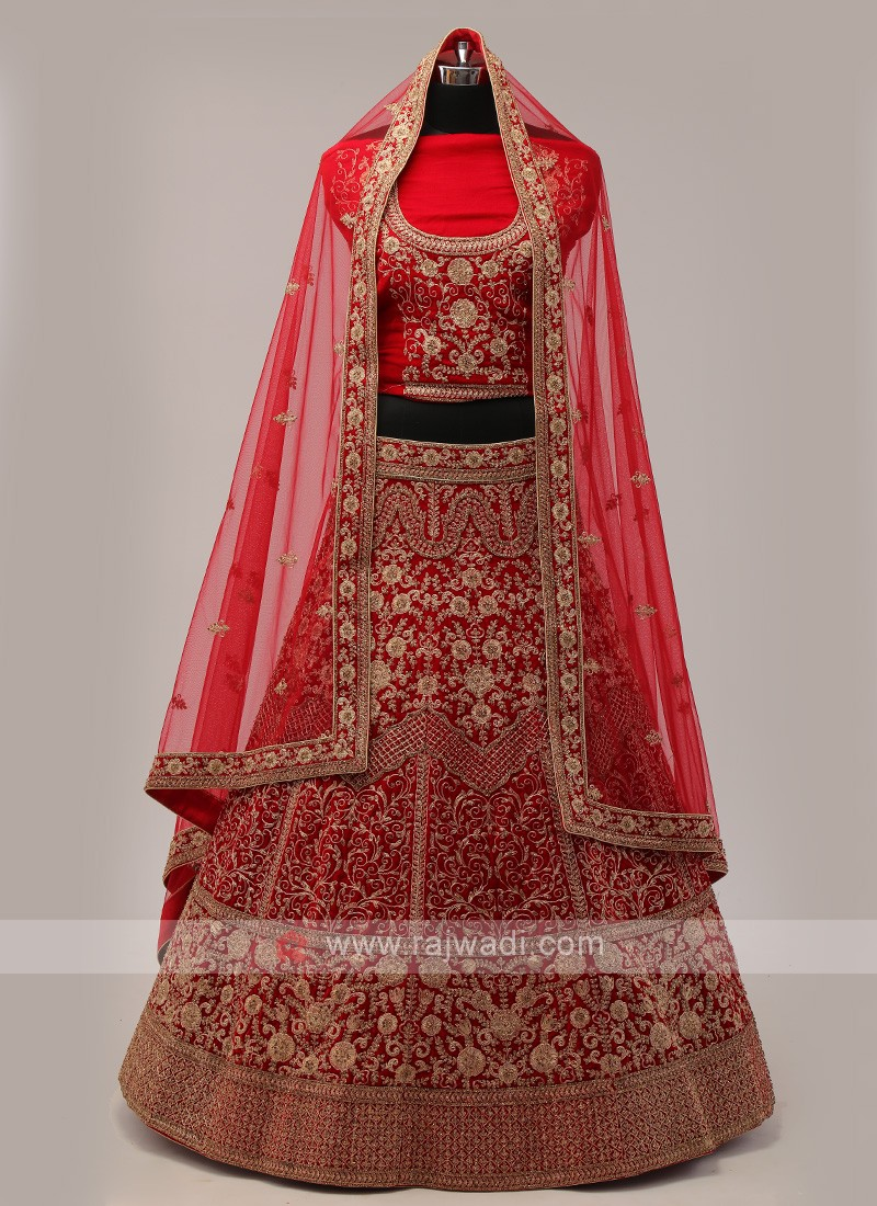 Red And Maroon Velvet Lehenga Choli