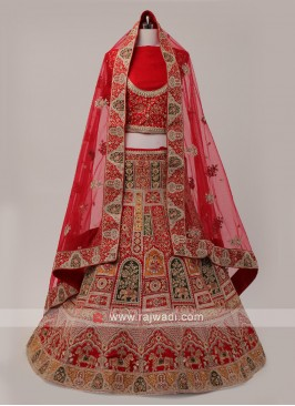 Red And Multi Color Lehenga Choli