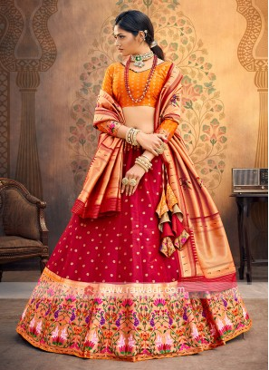 Red And Orange Silk Lehenga Choli